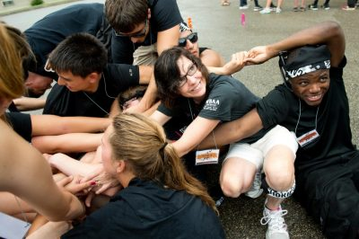 Dr. Laura Sands takes part in a team activity at Hokie Camp.